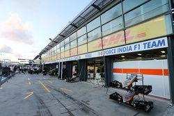 Sahara Force India F1 Team pit garages