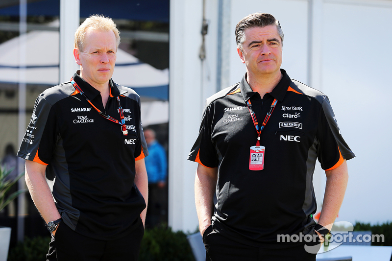 Andrew Green, Technischer Direktor Sahara Force India F1 Team, mit Teammanager Andy Stevenson