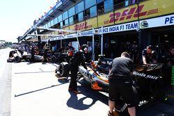 Sergio Pérez, Sahara Force India F1 VJM08 y su compañero de equipo Nico Hulkenberg, Sahara Force Ind