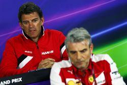Graeme Lowdon, Manor F1 Team Chief Executive Officer and Maurizio Arrivabene, Ferrari Team Principal in the FIA Press Conference