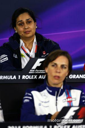 Monisha Kaltenborn, Sauber Team Principal and Claire Williams, Williams Deputy Team Principal in the FIA Press Conference