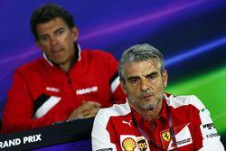 Maurizio Arrivabene, Ferrari Team Principal and Graeme Lowdon, Manor F1 Team Chief Executive Officer in the FIA Press Conference