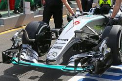 L'aileron avant de Nico Rosberg, Mercedes AMG F1 W06