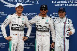 Segundo lugar Nico Rosberg, Mercedes AMG F1, ganador de la pole Lewis Hamilton, Mercedes AMG F1, tercer lugar, Felipe Massa, Williams F1 Team
