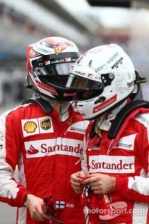 Sebastian Vettel, Ferrari SF15-T y Kimi Raikkonen, Ferrari