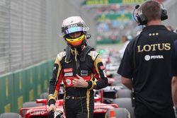 Romain Grosjean, Lotus F1 Team en el parque cerrado