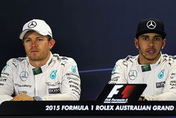 Second place Nico Rosberg, Mercedes AMG F1 with team mate and pole winner Lewis Hamilton, Mercedes AMG F1 in the FIA Press Conference
