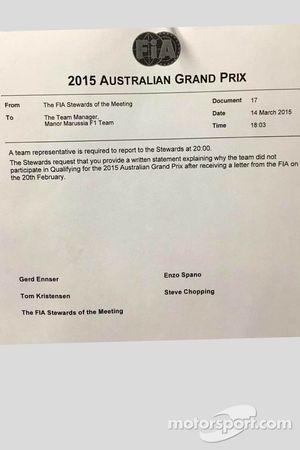 Una nota para Manor F1 Team