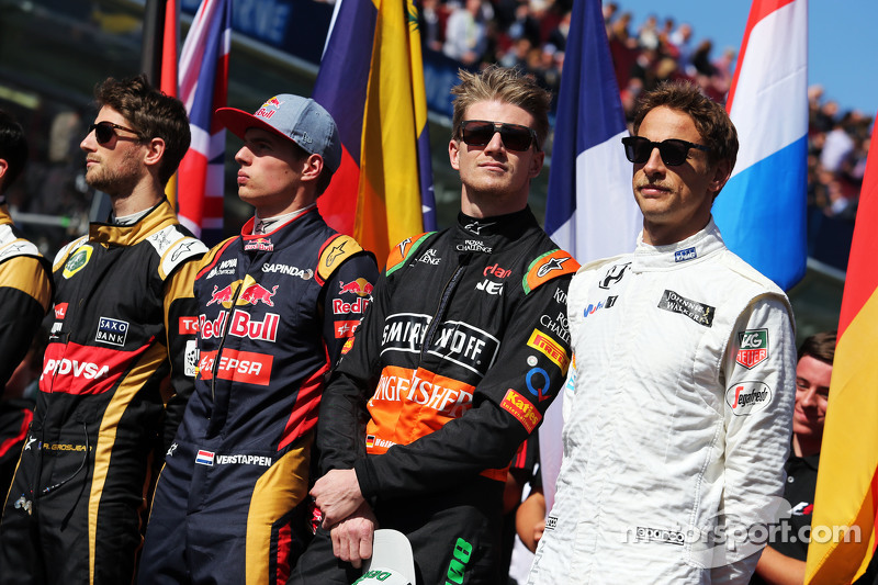 (Kiri ke Kanan): Romain Grosjean, Lotus F1 Team; Max Verstappen, Scuderia Toro Rosso; Nico Hulkenber
