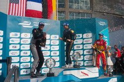 Podium: race winner Nicolas Prost, second place Scott Speed, third place Daniel Abt