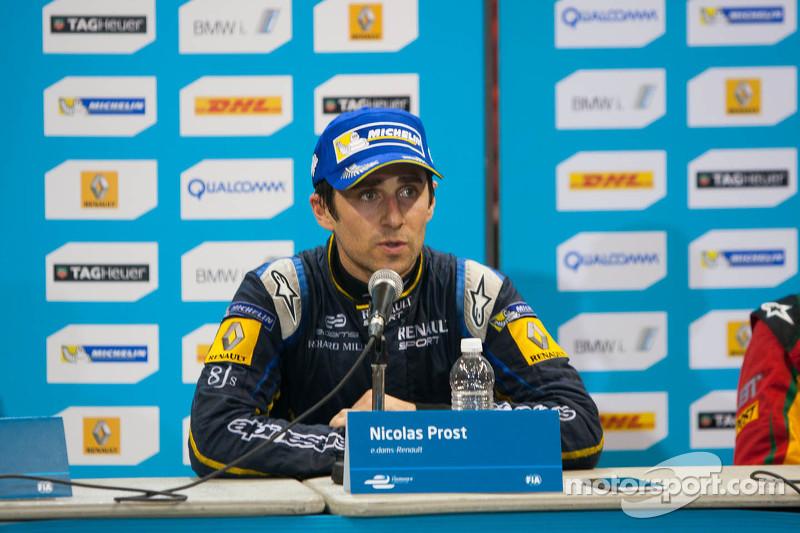 Pressekonferenz nach dem Rennen: 1. Nicolas Prost, 2. Scott Speed, 3. Daniel Abt