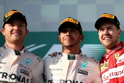 Second place Nico Rosberg, Mercedes AMG F1 Team, Race winner Lewis Hamilton, Mercedes AMG F1 Team and third place Sebastian Vettel, Scuderia Ferrari