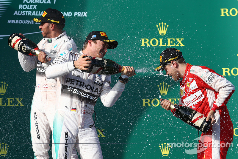 Race winner Lewis Hamilton, Mercedes AMG F1, second place Nico Rosberg, Mercedes AMG F1 W06 and thir
