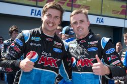 Race winner Mark Winterbottom, Prodrive Racing Australia Ford and Chaz Mostert, Prodrive Racing Australia Ford celebrate first and second