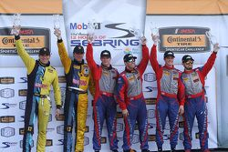 Podium: race winners Robin Liddell, Andrew Davis, Stevenson Motorsports, second place Lawson Aschenb