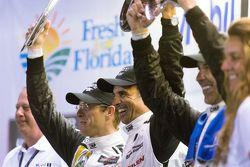 Overall podium: race winners Joao Barbosa, Christian Fittipaldi, Sébastien Bourdais, Action Express