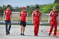 Sebastian Vettel, Ferrari and Esteban Gutierrez, Ferrari Test and Reserve Driver walk the circuit