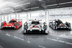 The 2015-spec Porsche 919 Hybrid in three colors for Le Mans