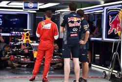 Sebastian Vettel, Ferrari visits the Red Bull Racing pit garage