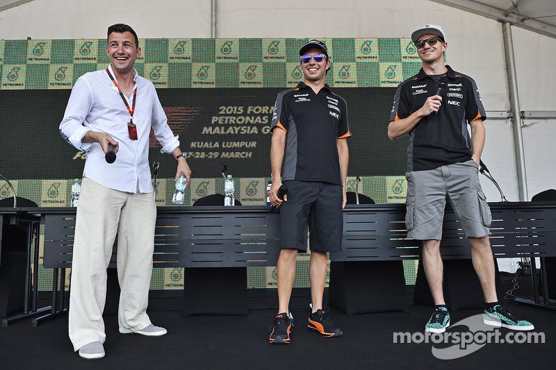 Will Buxton, NBS Sports Network TV Presentador con Sergio Pérez, Sahara Force India F1 y Nico Hulken
