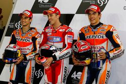 Dani Pedrosa, Repsol Honda Team and Andrea Dovizioso, Ducati Team and Marc Marquez, Repsol Honda Team