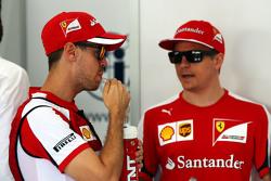 Sebastian Vettel, Ferrari with Kimi Raikkonen, Ferrari on the drivers parade