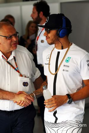 Lewis Hamilton, Mercedes AMG F1 with Pat Behar, FIA on the drivers parade