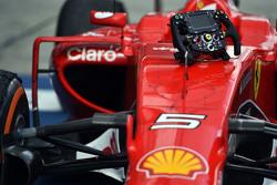 The Ferrari SF15-T of race winner Sebastian Vettel, Ferrari in parc ferme
