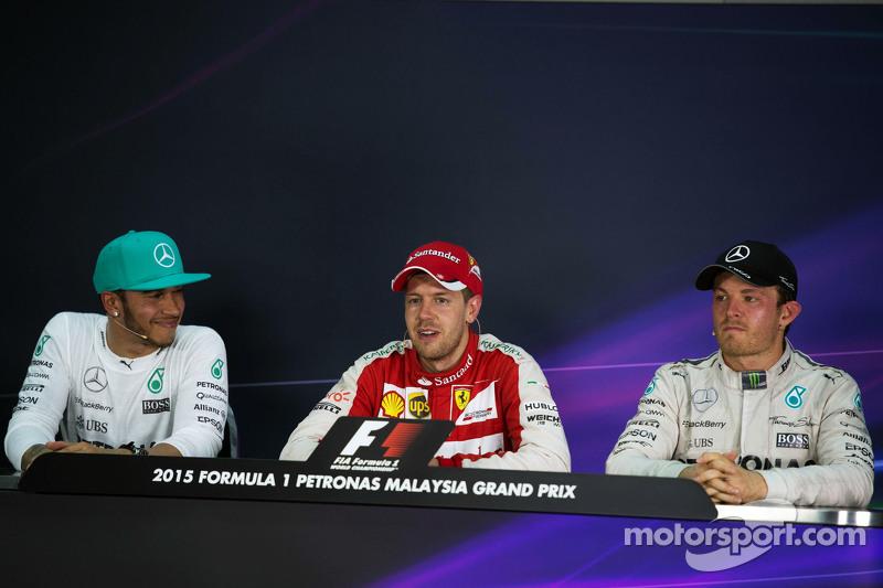 The post race FIA Press Conference, Mercedes AMG F1, second; Sebastian Vettel, Ferrari, race winner; Nico Rosberg, Mercedes AMG F1, third