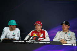 The post race FIA Press Conference, Mercedes AMG F1, second; Sebastian Vettel, Ferrari, race winner; Nico Rosberg, Mercedes AMG F1, third