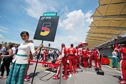 Grid girl for Sebastian Vettel, Ferrari