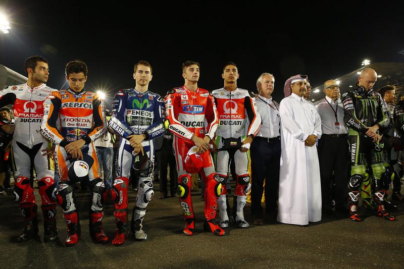 Danilo Petrucci, Marc Márquez, Jorge Lorenzo, Andrea Iannone, Yonny Hernández y Bradley Smith