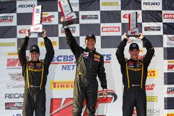 Podium: Second place Andrew Aquilante, Race winner Spencer Pumpelly and third placed Kurt Rezzetano