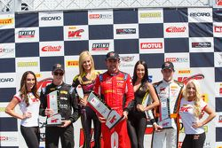 GT podium: Second place Nicky Catsburg, Race winner Olivier Beretta and third place Kevin Estre