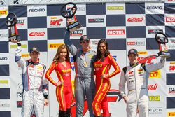 GT Cup podium: Second place Sloan Urry, Race winner Colin Thompson and third placed Lorenzo Trefethe