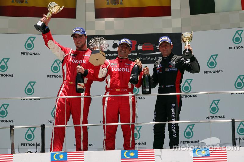 Podium Race 2 1st position Jordi Gene, SEAT Leon Racer, Craft Bamboo Racing LUKOIL 2nd position Pe