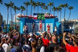 Podium: Second place Jean-Eric Vergne, Andretti Autosport, Race winner Nelson Piquet Jr., and third place Lucas di Grassi, Audi Sport ABT