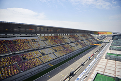 The start / finish straight and pits