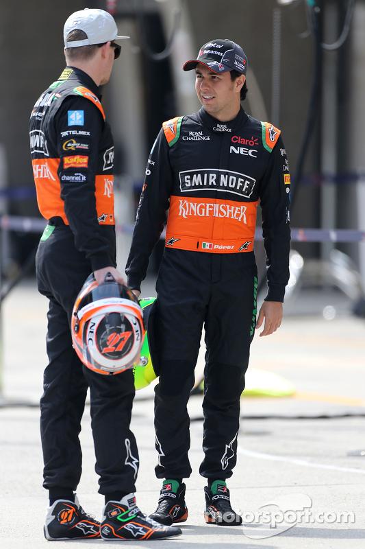 Nico Hulkenberg, Sahara Force India, dan Sergio Perez, Sahara Force India
