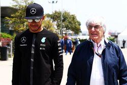 Lewis Hamilton, Mercedes AMG F1 with Bernie Ecclestone