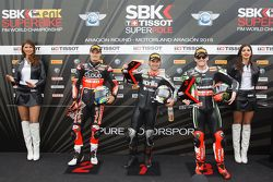 Second place, Chaz Davies, Ducati Team, Polesitter Leon Haslam, Aprilia Racing Team, third place, To
