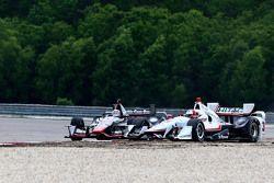 Helio Castroneves, Team Penske Chevrolet and Stefano Coletti, KV Racing Technology Chevrolet
