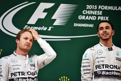 The podium: second placed Nico Rosberg Mercedes AMG F1 with race winner Lewis Hamilton Mercedes AMG F1