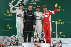 The podium: Nico Rosberg Mercedes AMG F1, second; Lewis Hamilton Mercedes AMG F1, race winner; Sebastian Vettel Ferrari, third