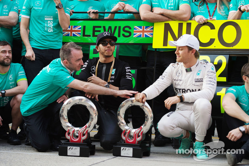 Paddy Lowe Mercedes AMG F1 Executive Director with race winner Lewis Hamilton Mercedes AMG F1 and se