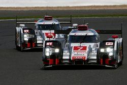 #7 Audi Sport Team Joest R18 e-tron quattro: Marcel Fassler, Andre Lotterer, Benoit Tréluyer and #8 Audi Sport Team Joest R18 e-tron quattro: Lucas di Grassi, Loic Duval, Oliver Jarvis