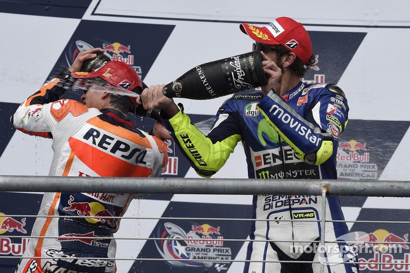 Podium: third place Valentino Rossi, Yamaha Factory Racing and winner Marc Marquez, Repsol Honda Tea