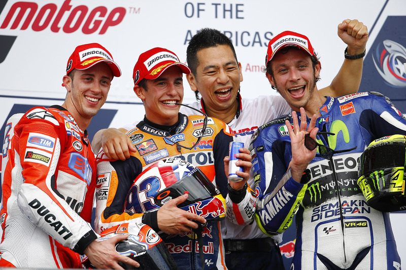 Podium: second place Andrea Dovizioso, Ducati Team and winner Marc Marquez, Repsol Honda Team and third place Valentino Rossi, Yamaha Factory Racing