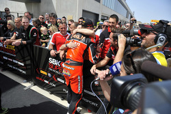Race winner Chaz Davies, Ducati Team, with his team