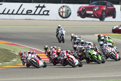 Michael van der Mark, Pata Honda, leads a group of bikes